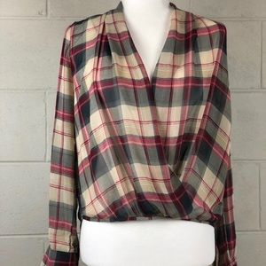 XS) SOPHIE RUE Sheer Plaid Blouse